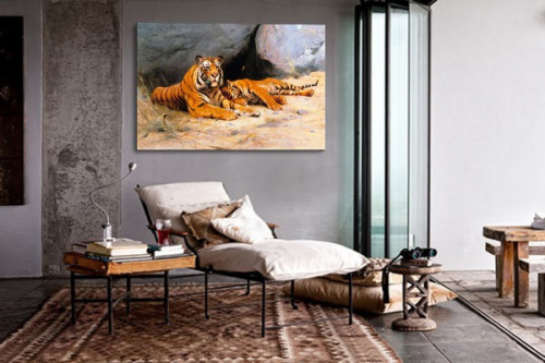 Tableau photo sieste du tigre