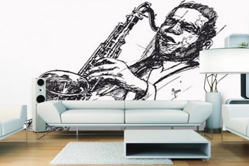 Papier Peint design jazzman au saxo
