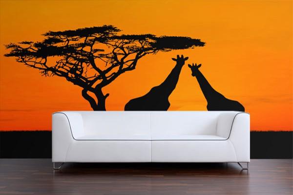 Papier Peint déco Dans la savane des girafes   Izoa
