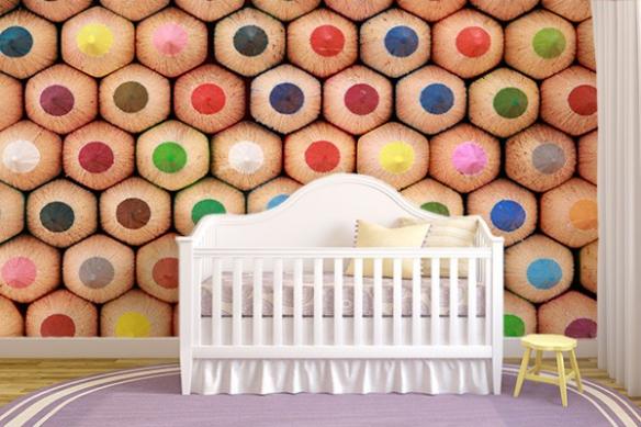 Papier Peint chambre enfant crayons de couleurs