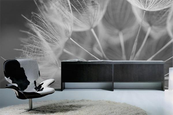 Papier Peint Deco Pissenlit Noir Blanc