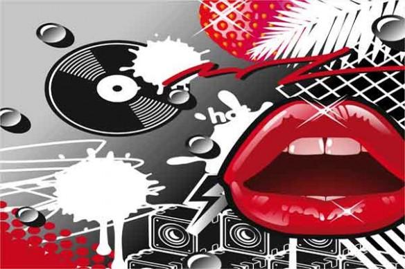 Toile design pop art bouche vinyle