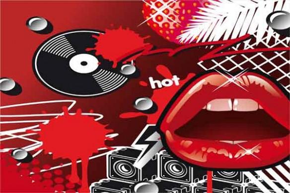 Tableau art vintage Lips rouge
