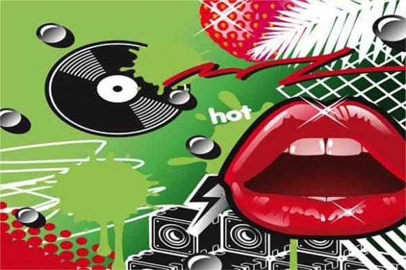 Tableau mural Lips vert