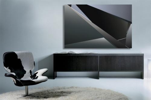 Tableau abstrait noir carbone
