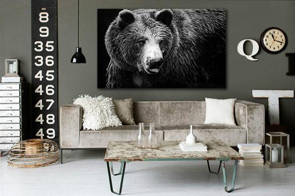 tableau noir et blanc ours izoa