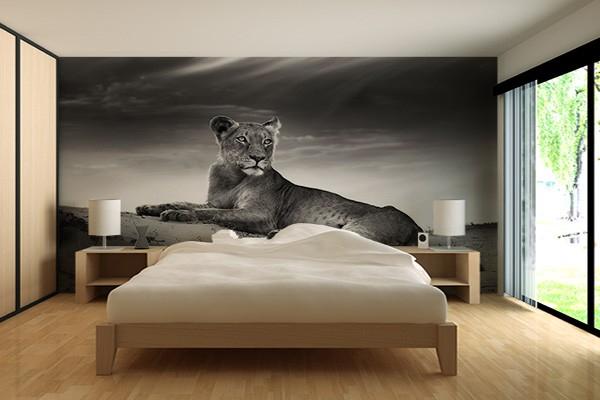 Papier peint lionne izoa - Decoration chambre adulte papier peint ...