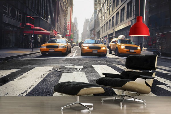 papier peint trompe l 39 oeil taxis new york izoa. Black Bedroom Furniture Sets. Home Design Ideas