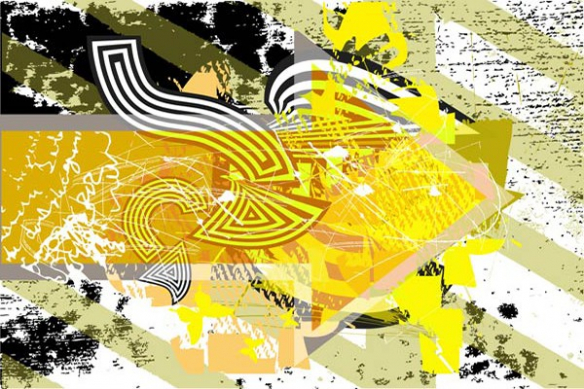 tableau contemporain Follow me jaune
