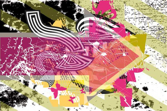flèche abstrait rose