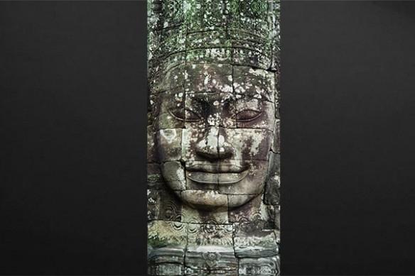 Sticker porte Visage de pierres statues khmère