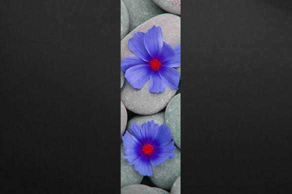 deco mur zen fleur bleu galet