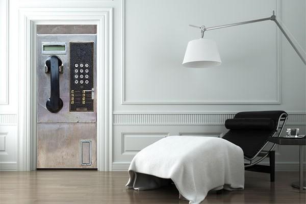 poster de porte decoration t l phone izoa. Black Bedroom Furniture Sets. Home Design Ideas