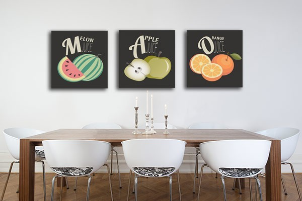 Tableau triptyque salade de fruits izoa for Decoration murale tendance
