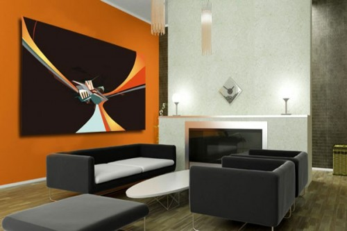 tableau salon design mural  Cube Abstrait
