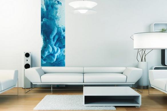 Papier peint design Précipité bleu