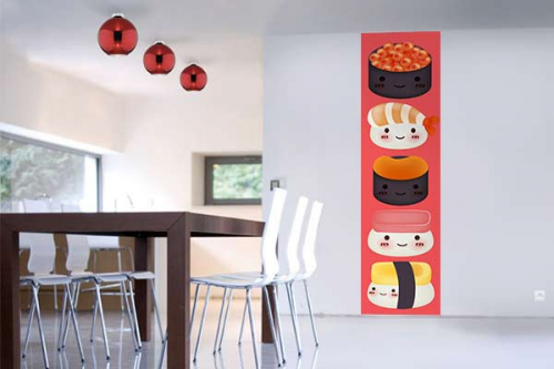 papier peint cuisine sexy sushi izoa. Black Bedroom Furniture Sets. Home Design Ideas