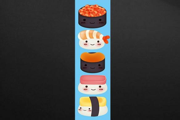Papier peint lé unique deco cuisine sushi