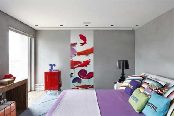 Papier peint chambre Poissons Carpes aquarelle