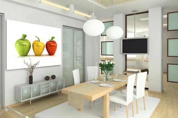 Tableau design 3 Pommes grand format