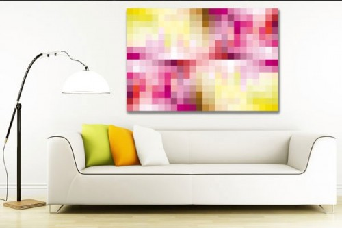 Tableau abstrait Pink Pixel