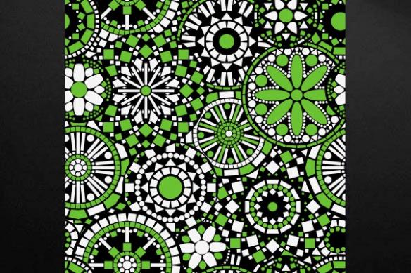 Toile déco fleur Philéas vert