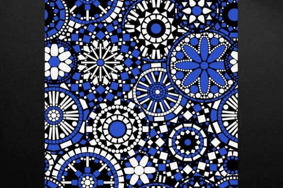 Tableau moderne fleur Philéas bleu