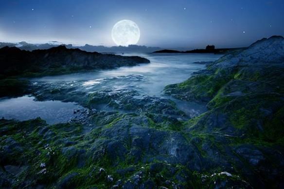 Tableau paysage reflet lunaire