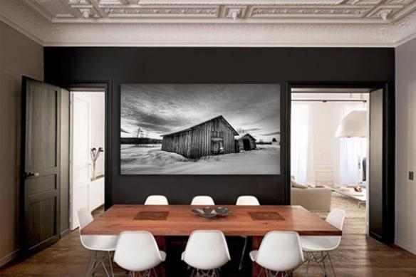 Tableau déco noir et blanc Grange