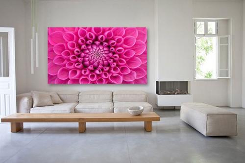 Tableau déco coeur floral rose