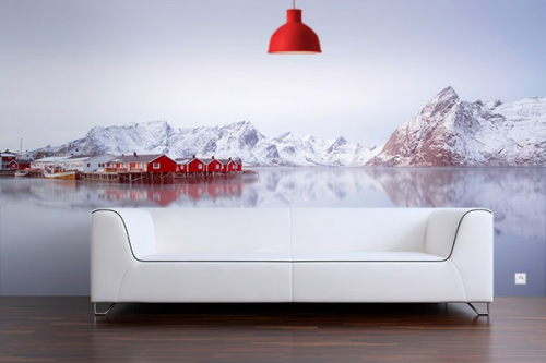 poster mural soir d 39 hiver en norv ge izoa. Black Bedroom Furniture Sets. Home Design Ideas