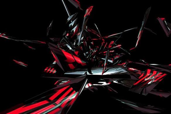 Tableau abstrait Vidima rouge
