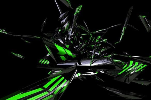 Tableau contemporain abstrait Vidima vert