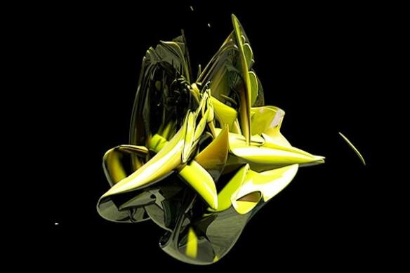 Tableau abstrait Big Bang jaune