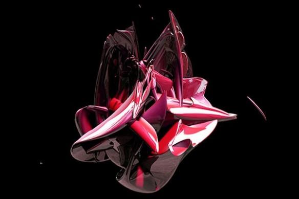 Tableau abstrait contemporain Big Bang rouge
