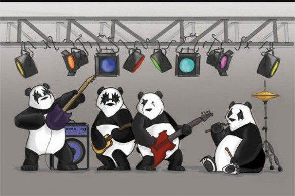 Tableau Kiss the Panda enfant