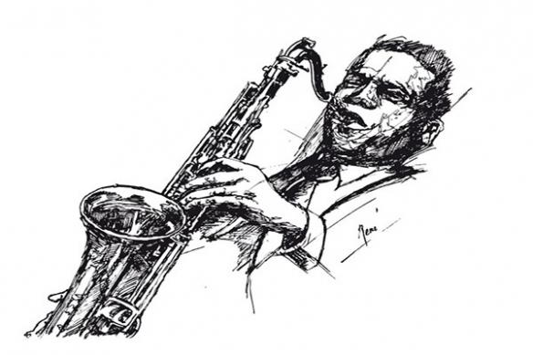 Tableau déco jazz noir et blanc