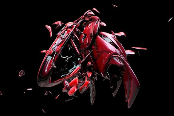 Toile abstraite matérialisation rouge
