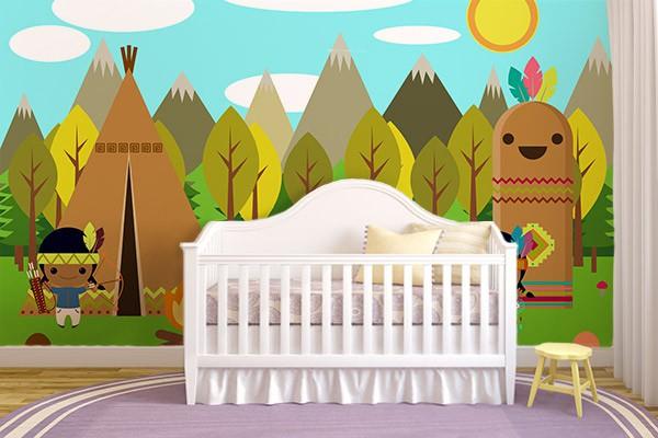 Papier peint chambre enfant Au pays des Indiens - Izoa