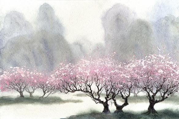 Toile déco zen cerisier artistique
