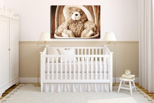toile pour enfant ourson izoa. Black Bedroom Furniture Sets. Home Design Ideas