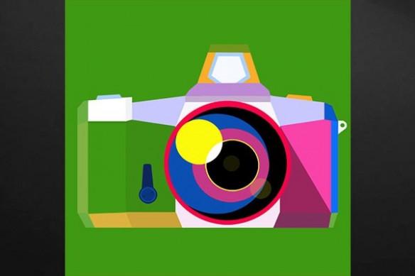 Tableau déco appareil photo vert