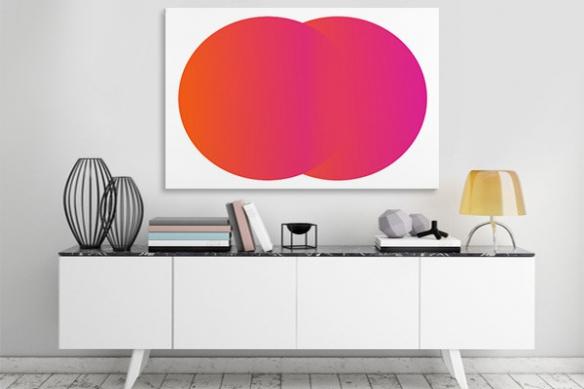Tableau abstrait Double cercles