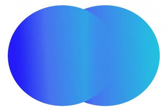 Toile abstraite Double cercles bleu