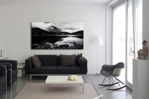 Tableau déco noir et blanc Lac Rila