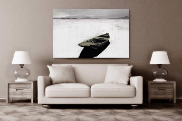 Tableau zen barque abandonnée