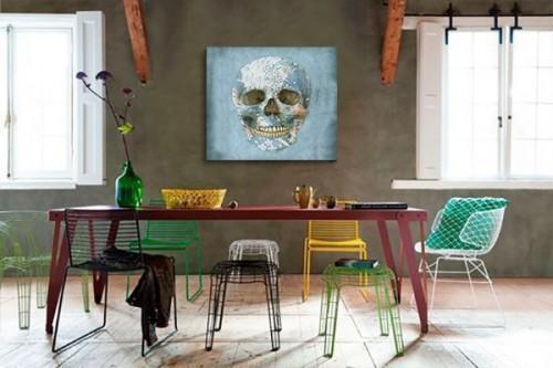 Toile originale crâne coloré bleu ciel