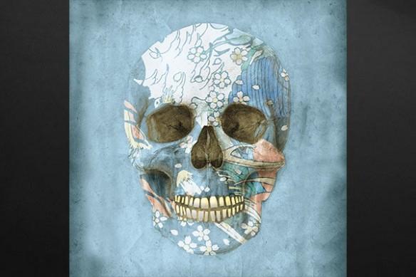 Toile moderne crâne fleur coloré bleu ciel