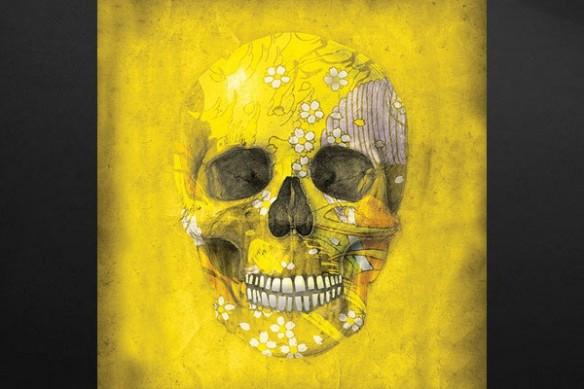 Toile déco crâne couleur jaune