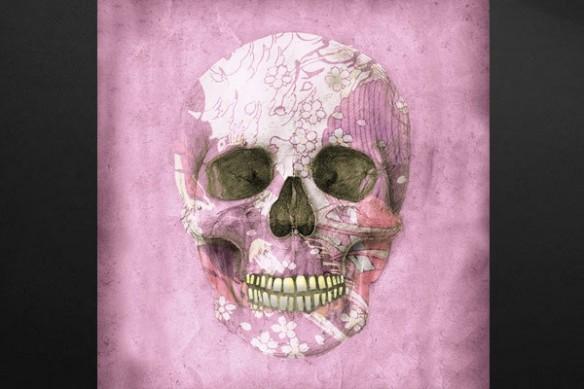 Tableau tendance crâne fleur rose